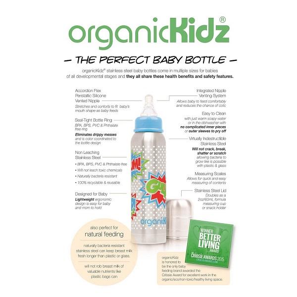 Nappflaska med termosfunktion i rostfritt OrganicKidz förpackning