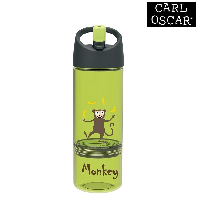 Vattenflaska barn Carl Oscar 2-in-1 med snacksburk 300 ml Lime Monkey