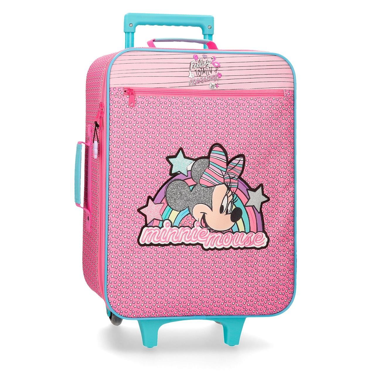 Resväska barn Minnie Mouse Trolley rosa och turkos