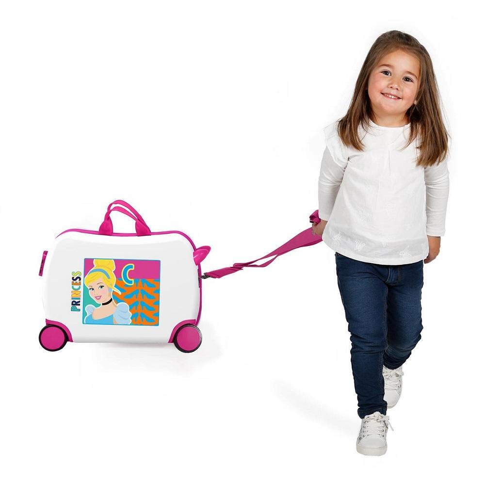 Resväska barn att åka på Cinderella vit och rosa