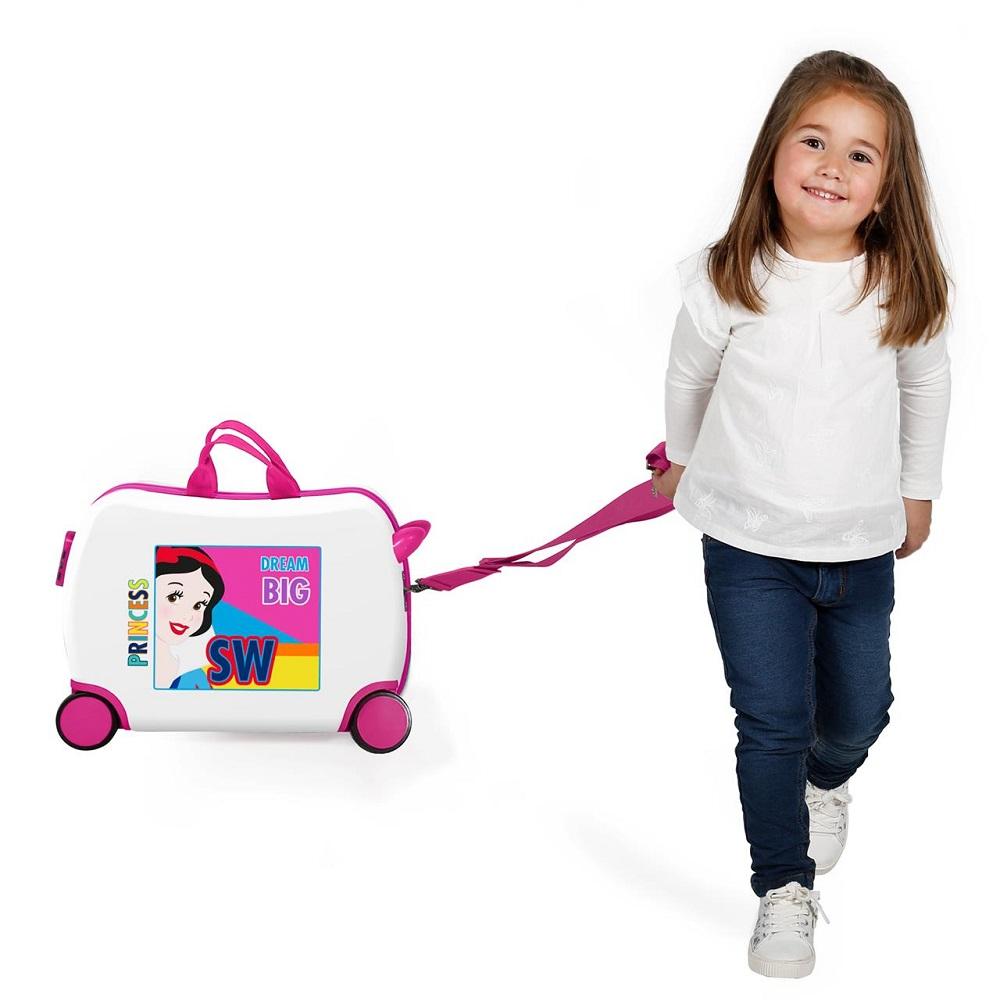 Resväska barn att åka på Snövit vit och rosa