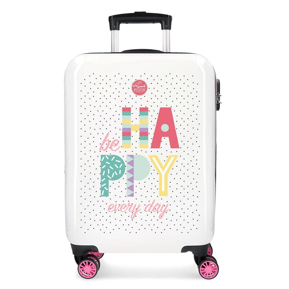 Resväska barn Movom Be Happy vit och rosa ABS