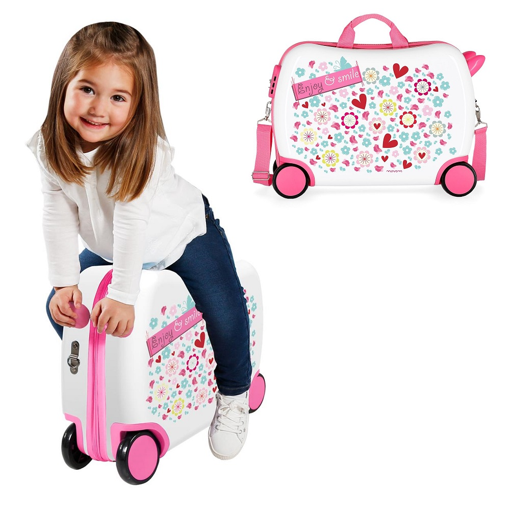 Resväska barn att åka på Movom Enjoy & Smile vit och rosa