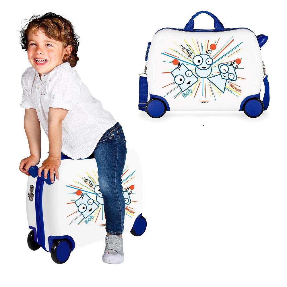 Resväska barn att åka på Movom Myopic vit och blå