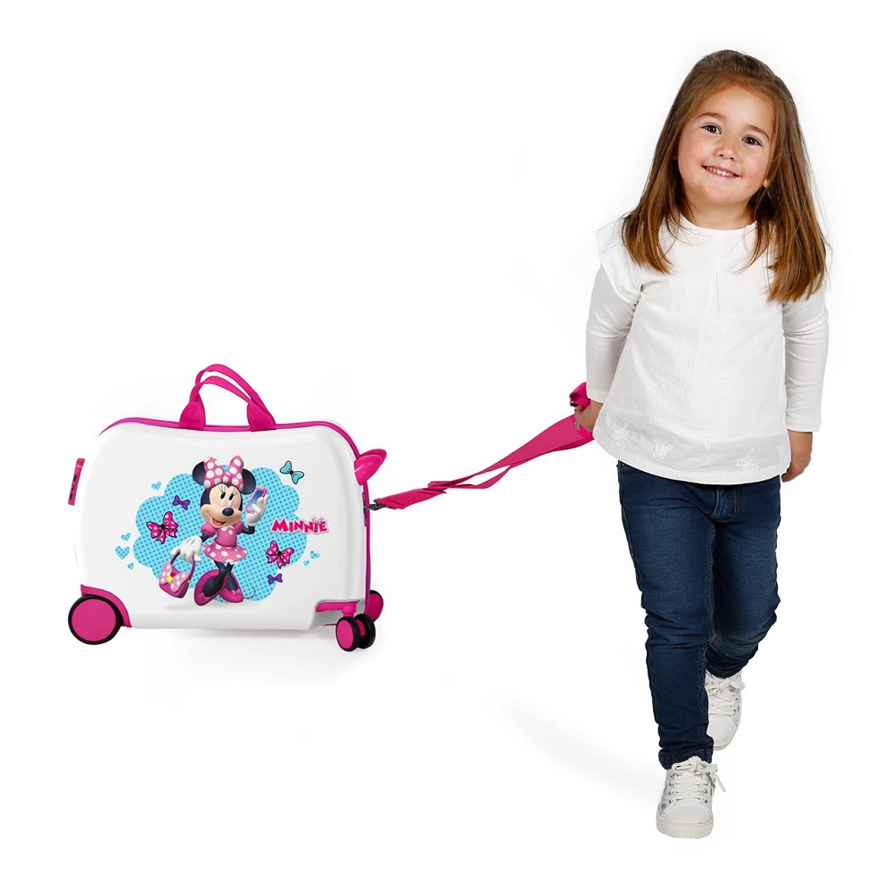 Resväska barn att åka på Minnie Mouse vit och rosa