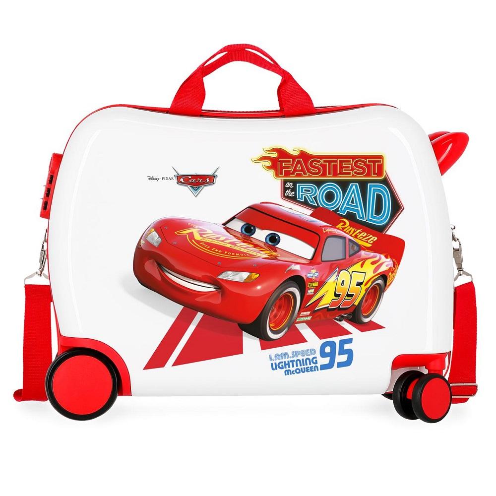 Resväska barn att åka på Bilar vit och röd