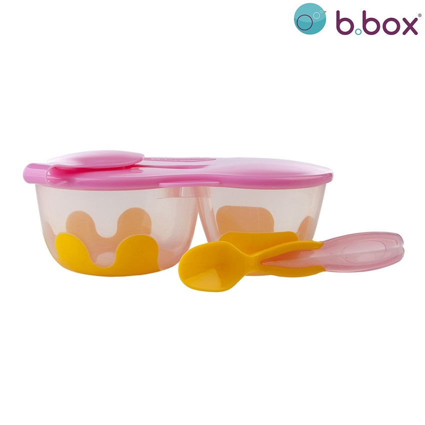 Matlåda barn med sked i locket B.box Snack Pack Pinkilily