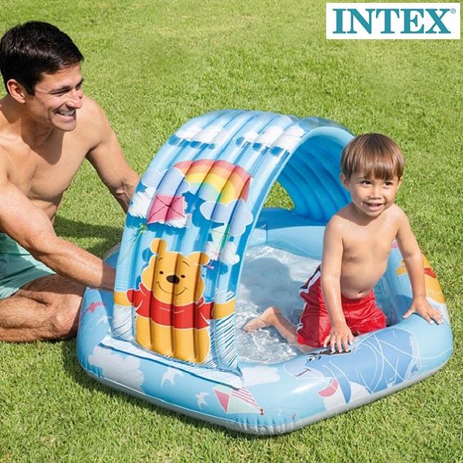 Uppblåsbar barnbassäng Intex Nalle Puh blå