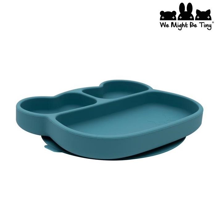 Barntallrik i silikon - Bear Blue Dusk