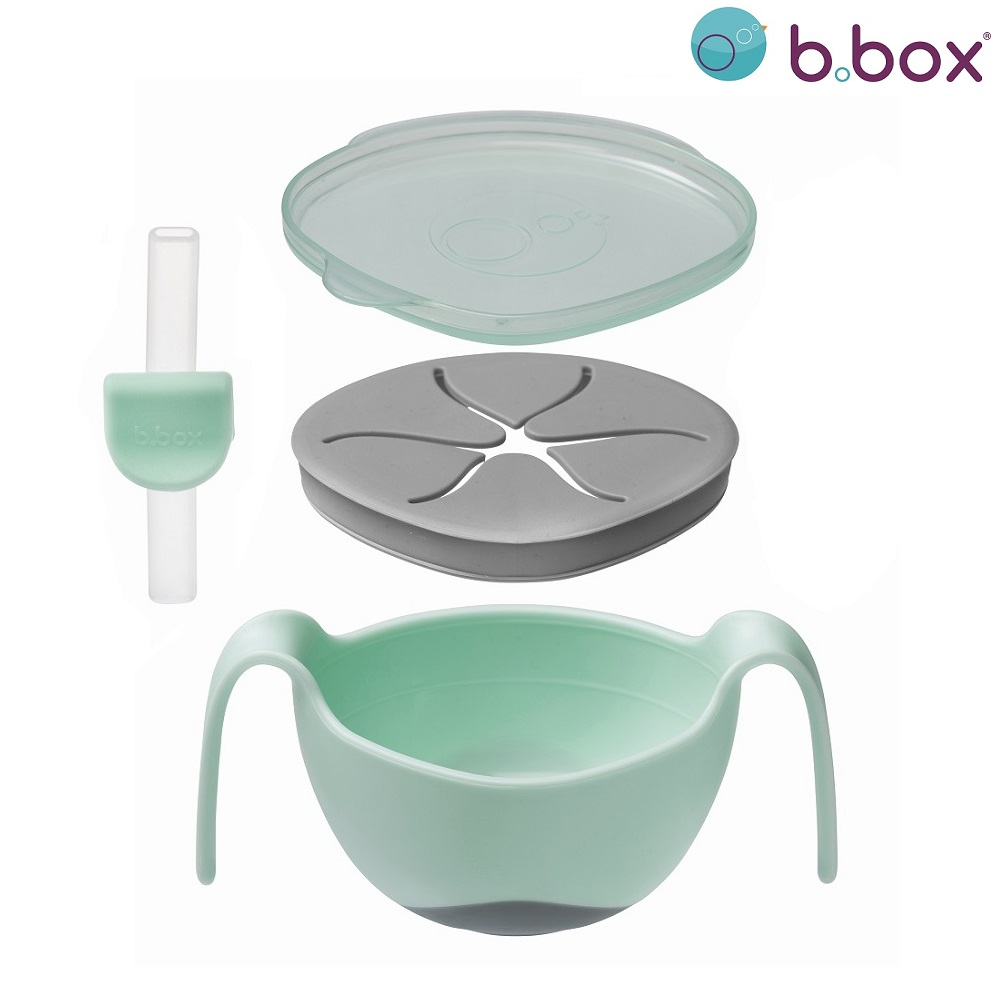 Matskål med sugrör B.box Bowl and Straw Pistachio pistagegrön