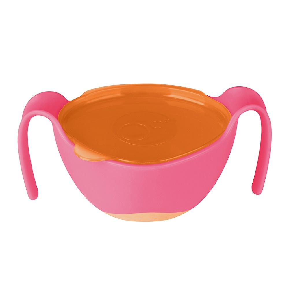 Barnskål med sugrör och snackslock B.box Bowl and Straw Strawberry Shake
