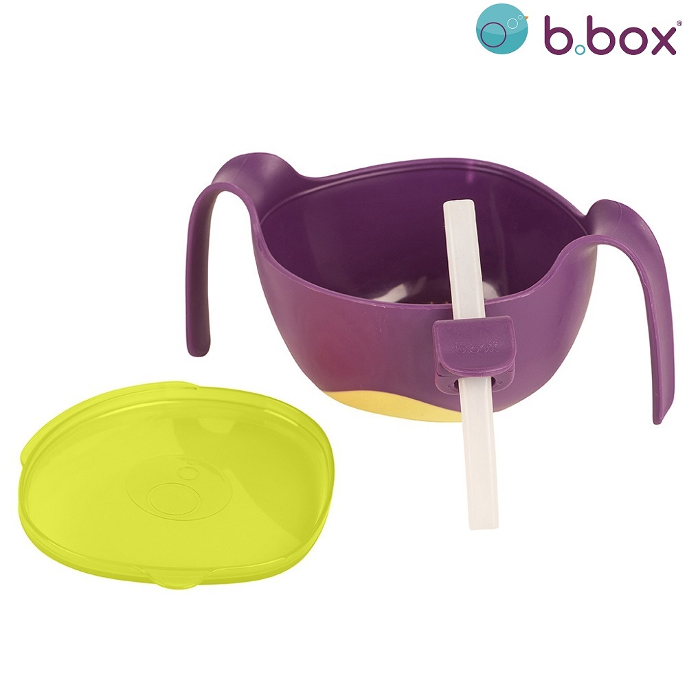 Matskål med sugrör B.box Bowl and Straw XL Passion Splash lila