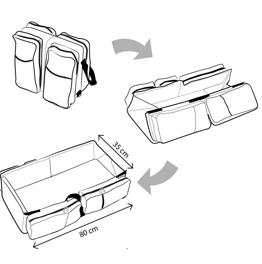 Deltababy skötväska och resesäng ritning