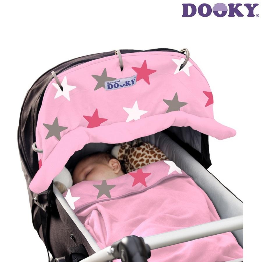 Solskydd barnvagn Dooky Design Pink Stars