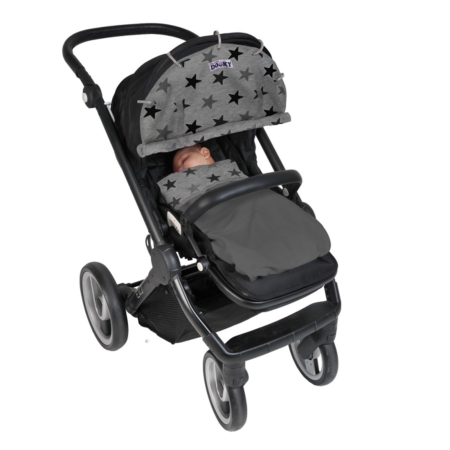 Solskydd barnvagn Dooky Design Grey Star
