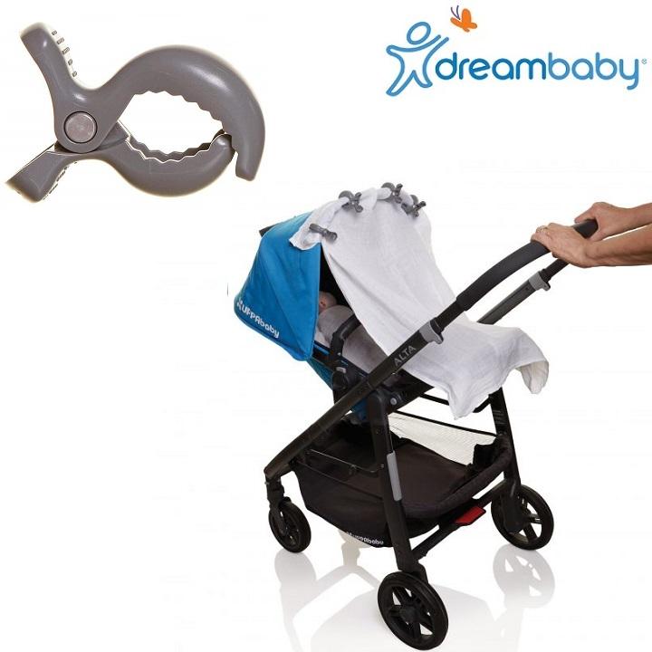 Barnvagnskrokar (4-pack) Dreambaby Stroller Clip grå