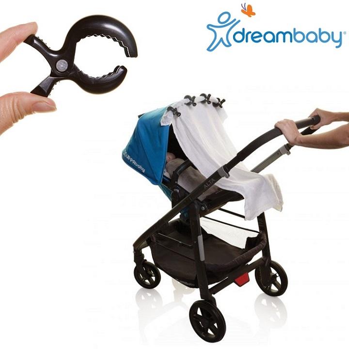 Barnvagnskrokar (4-pack) Dreambaby Stroller Clip svart