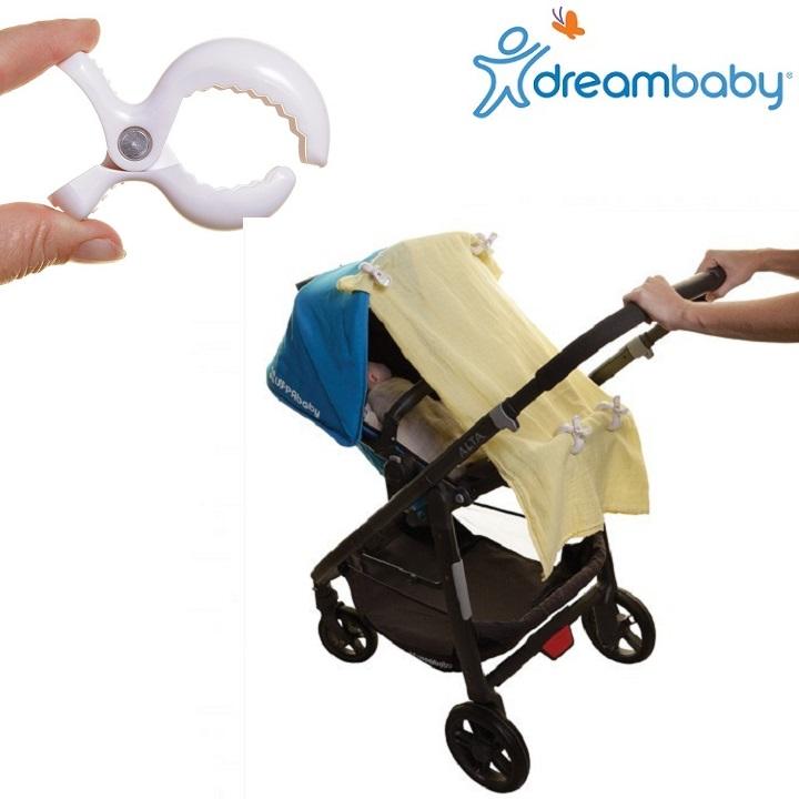 Barnvagnskrokar (4-pack) Dreambaby Stroller Clip vit