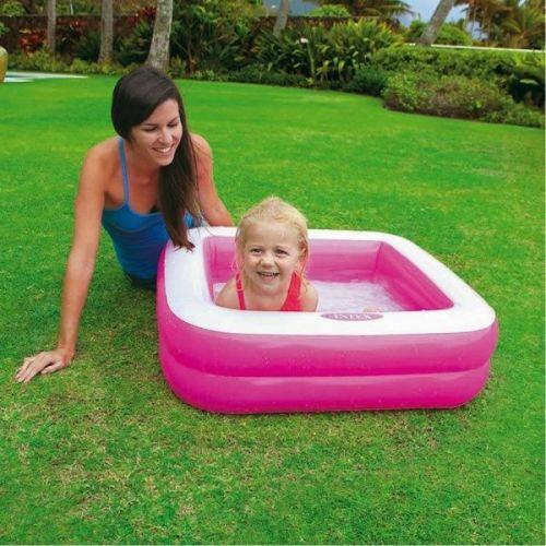 Uppblåsbar barnbassäng Intex fyrkantig rosa
