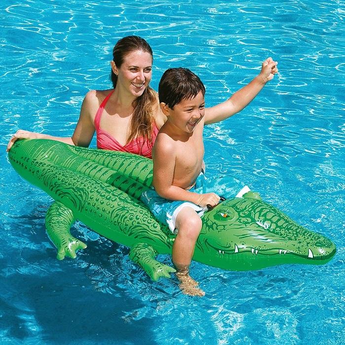 Uppblåsbar badmadras för barn Intex alligator stor