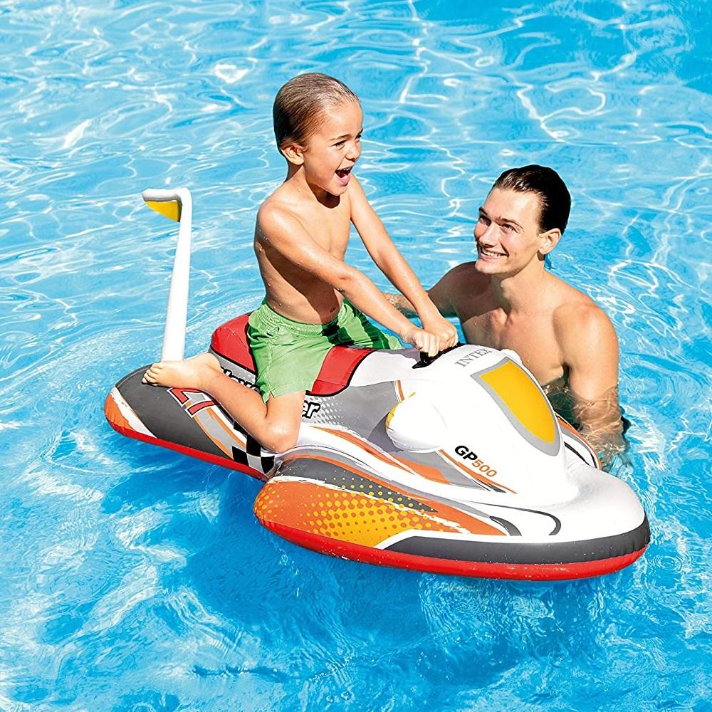 Uppblåsbar badbåt för barn Intex vattenskoter röd