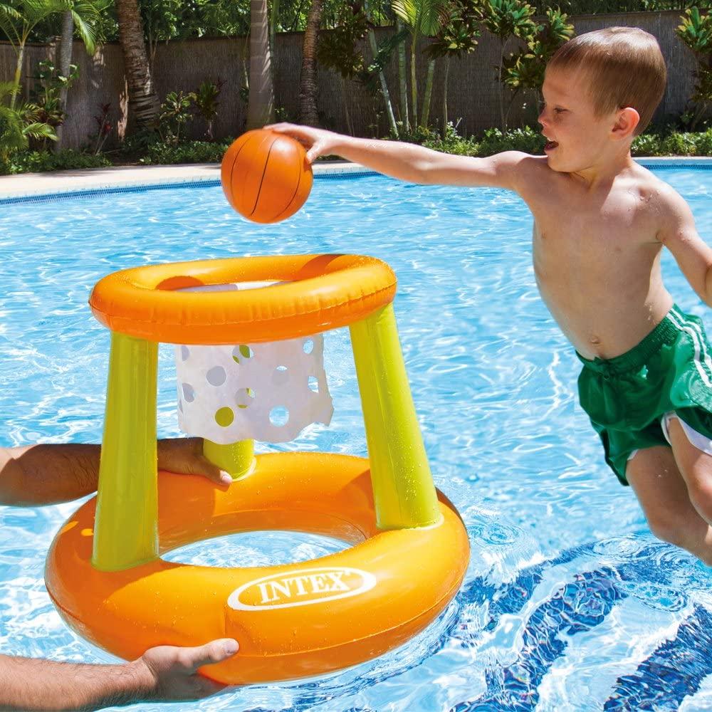 Uppblåsbar basketkorg med boll till pool