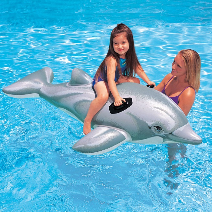 Uppblåsbart baddjur XL Intex Delfin