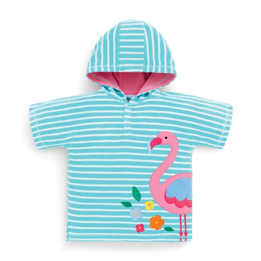 Badponcho barn Jojo Maman Bebe Turkos med flamingo