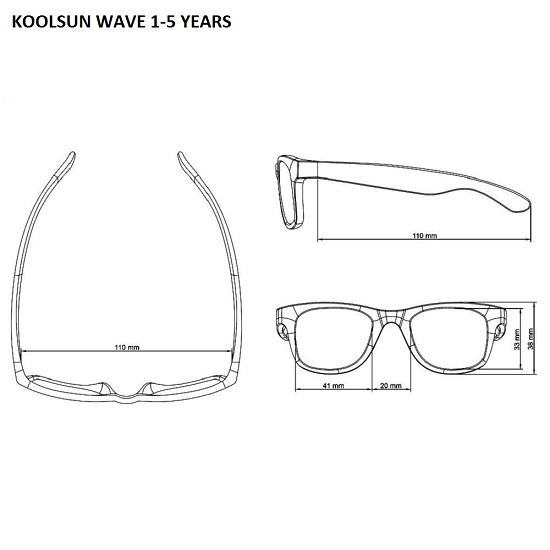Mått Koolsun Wave solglasögon barn