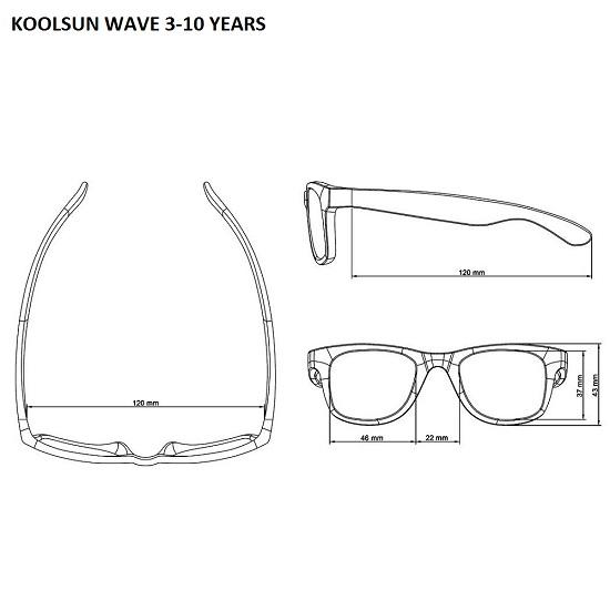 Mått specifikationer Koolsun Wave solglasögon bar