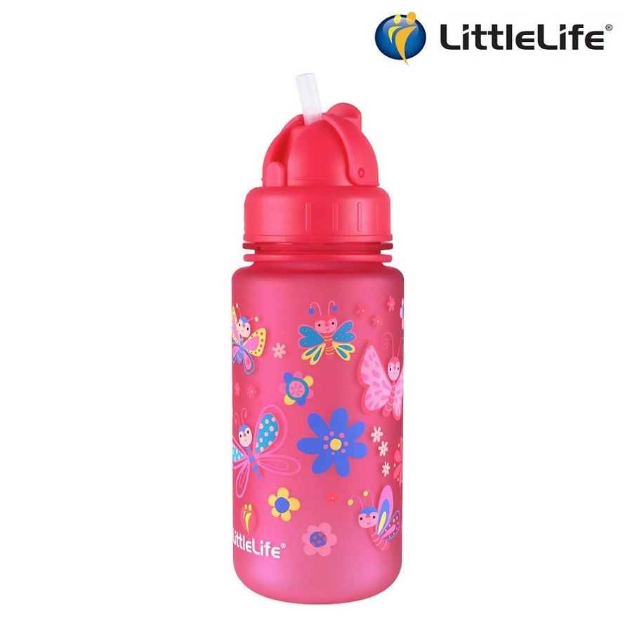 Vattenflaska barn Littlelife Butterfly 400 ml Rosa