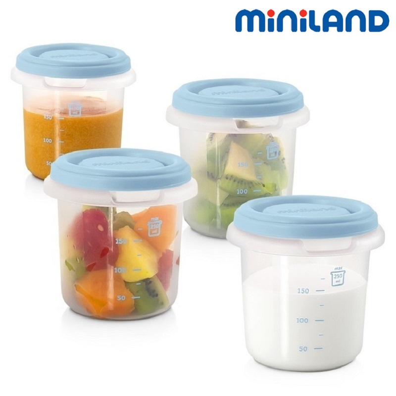 Fyra portionsburkar till babymat Miniland 4-Hermisized Blå