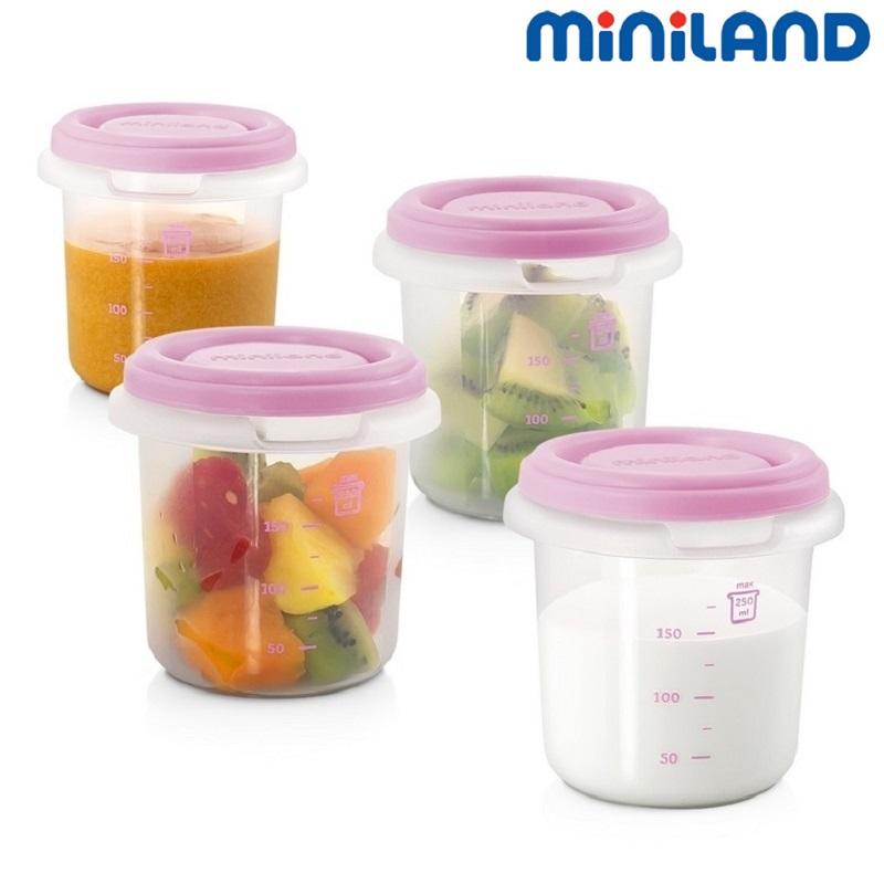 Fyra portionsburkar till babymat Miniland 4-Hermisized Rosa