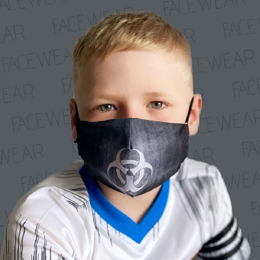 Munskydd barn Facewear Biohazard svart