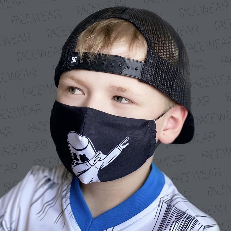 Munskydd barn Facewear svart med dab
