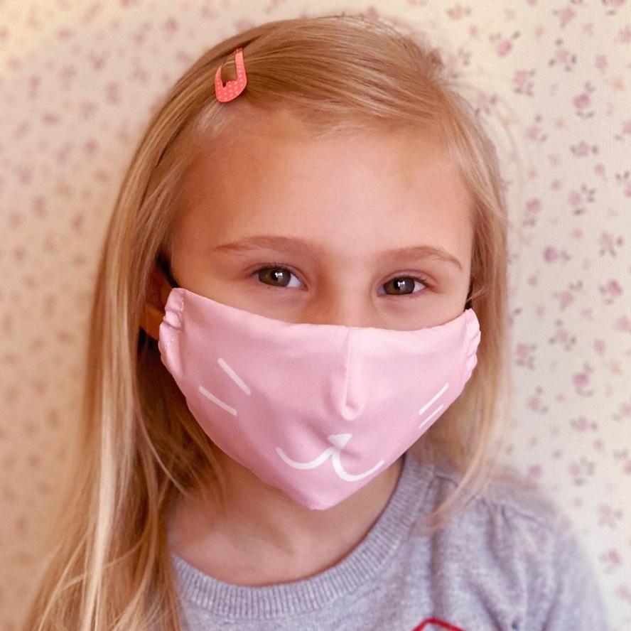 Munskydd barn Facewear rosa katt