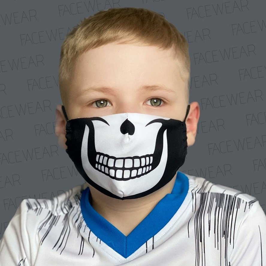 Munskydd barn Facewear svart dödskalle