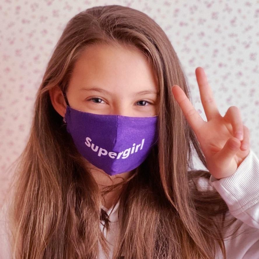 Munskydd barn Facewear Supergirl lila