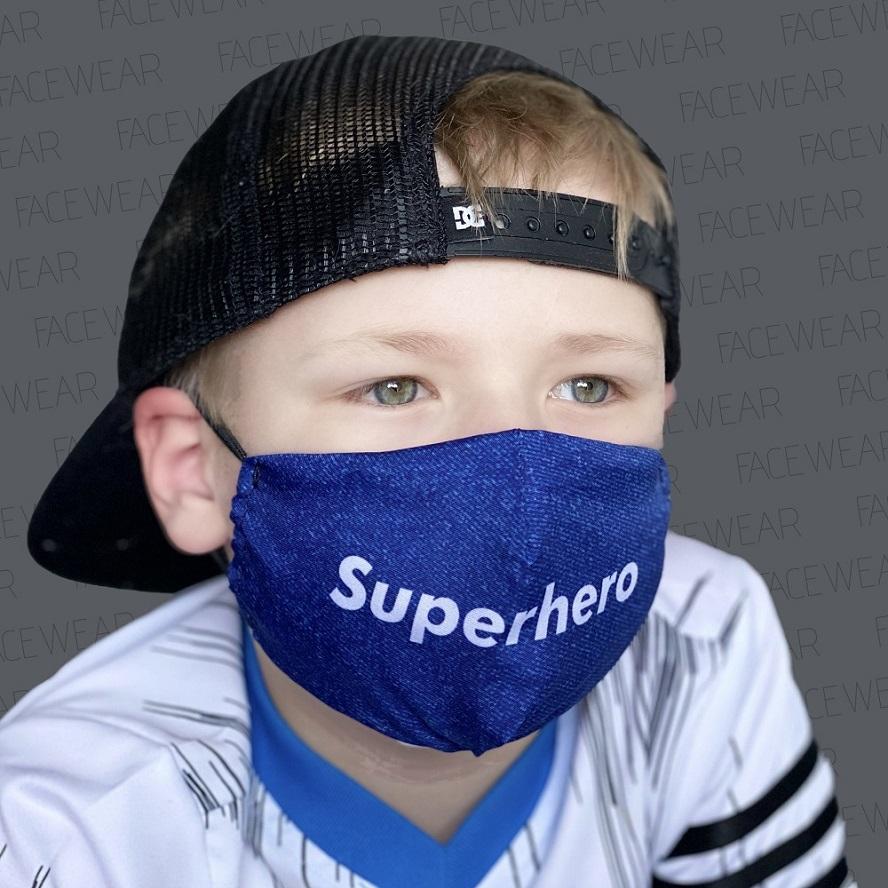 Munskydd barn Facewear Superhero blå