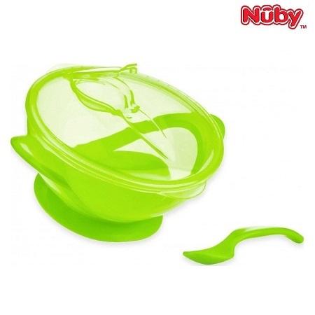 Mattallrik med sked Nuby Suction Bowl grön