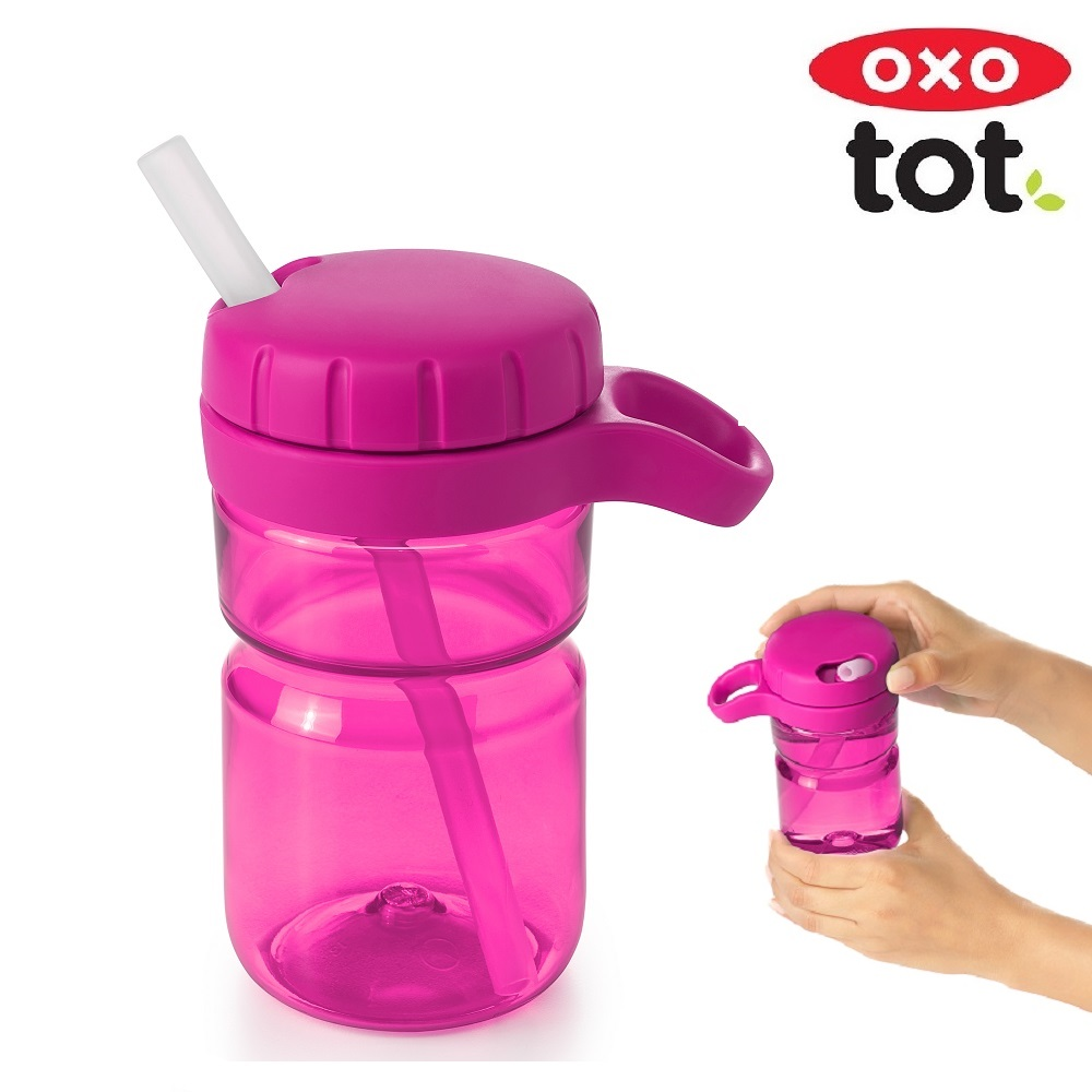 Vattenflaska barn OXO-Tot Twist-Lid-Bottle rosa