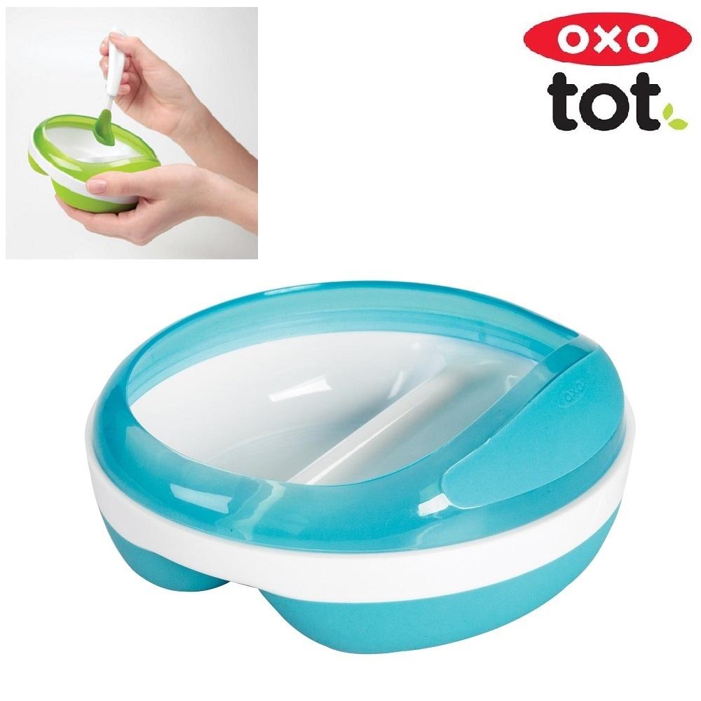 Matningstallrik med två avdelningar OXO-Tot Divided Feeding Dish Blå