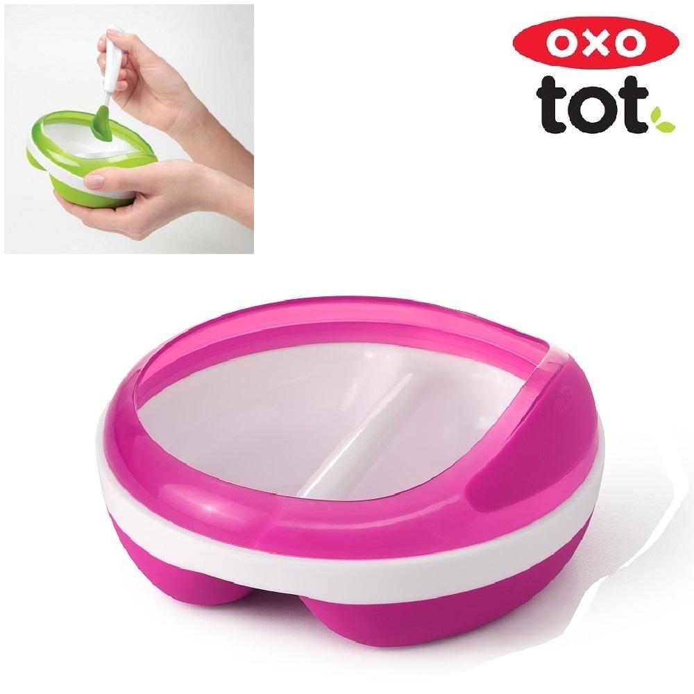 Matningstallrik med två avdelningar OXO-Tot Divided Feeding Dish Rosa