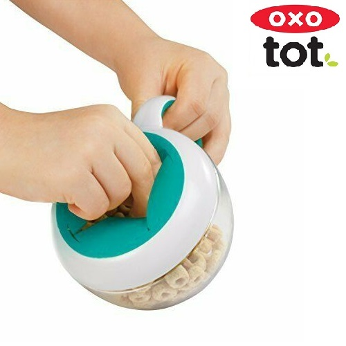 Snacksburk OXO-Tot Flippy Snack Cup Teal grön