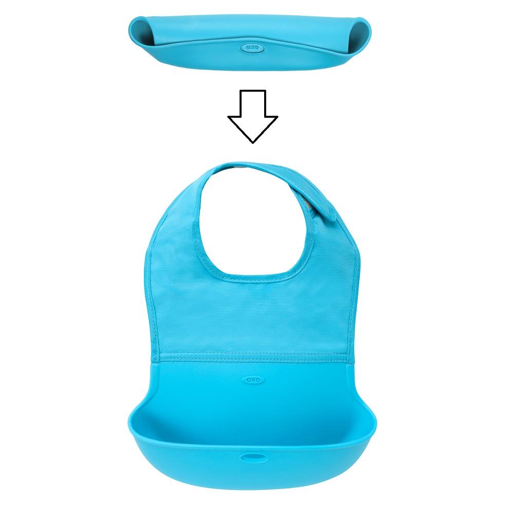 Haklapp i silikon OXO-Tot Roll Up Bib blå