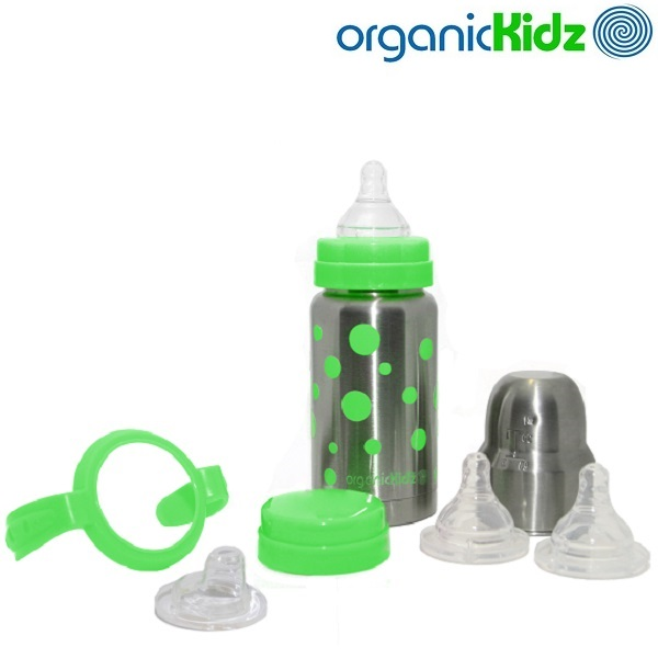 Rostfri nappflaska med termosfunktion OrganicKids Baby Grow Up Set med flaska, handtag, lock och nappar