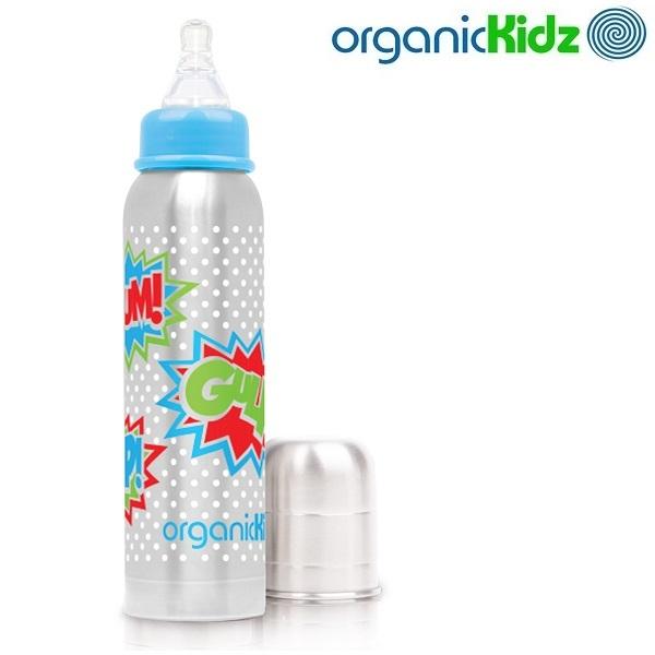 Nappflaska med termosfunktion i rostfritt OrganicKidz Bam