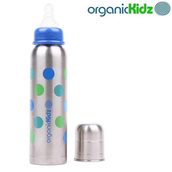 Nappflaska med termosfunktion i rostfritt OrganicKidz Dots