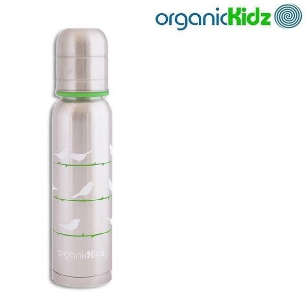 Nappflaska med termosfunktion i rostfritt OrganicKidz Chirpy