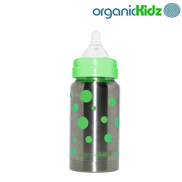 Nappflaska med termosfunktion i rostfritt OrganicKidz Green Dots 200 ml